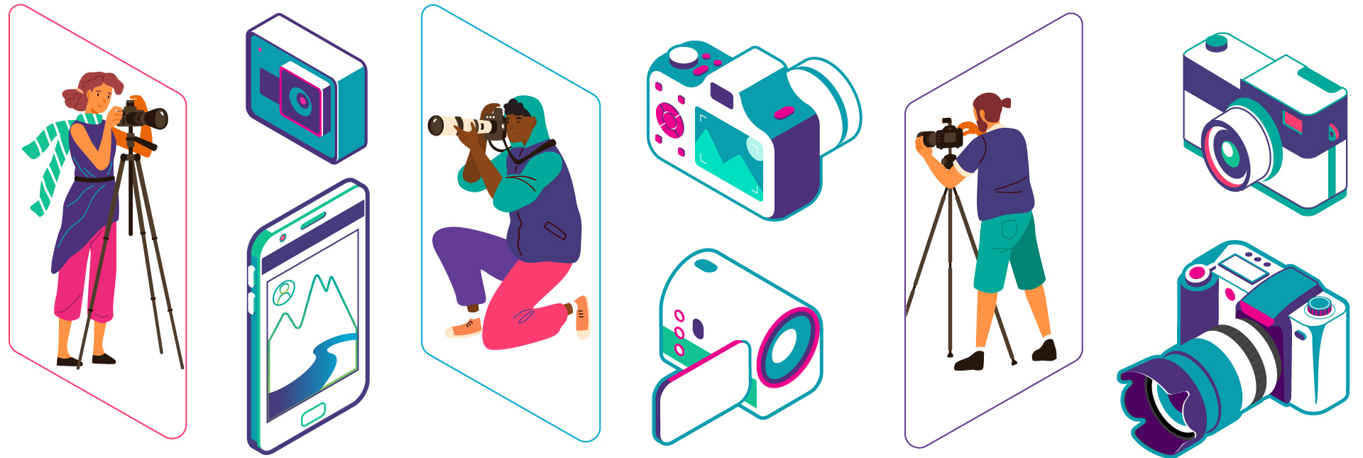 Collage of cameras and photographer illustrations